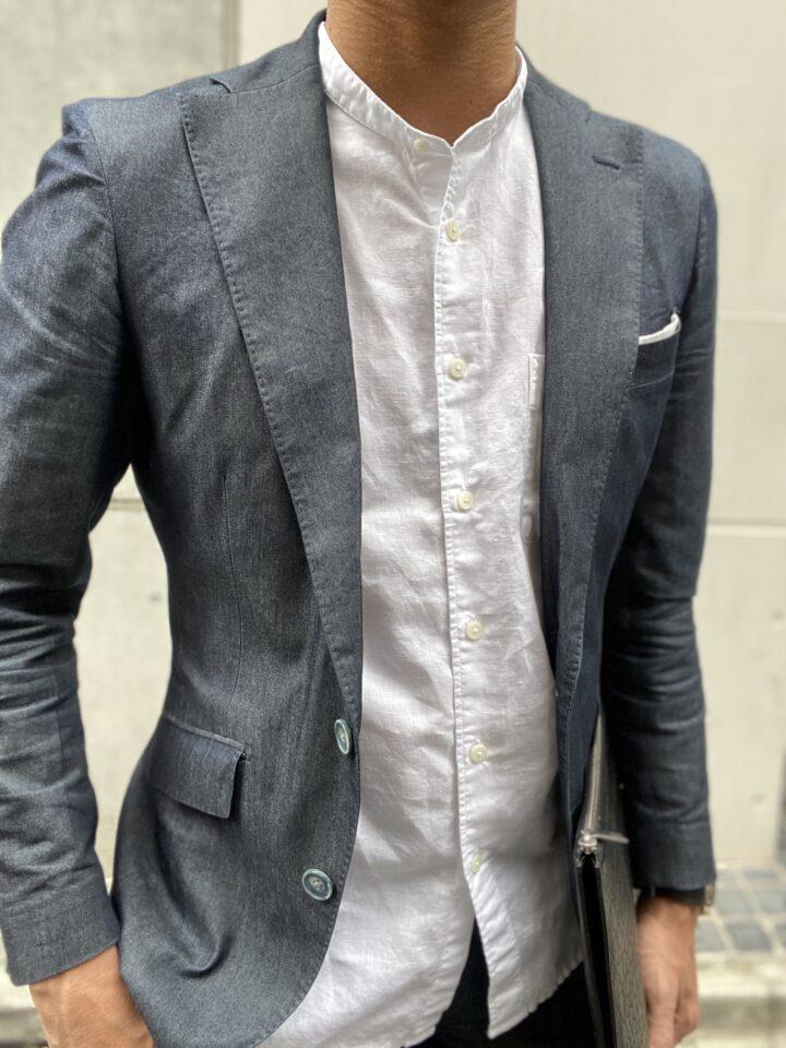 メンズ セットアップ×バンドカラーシャツ コーデ2