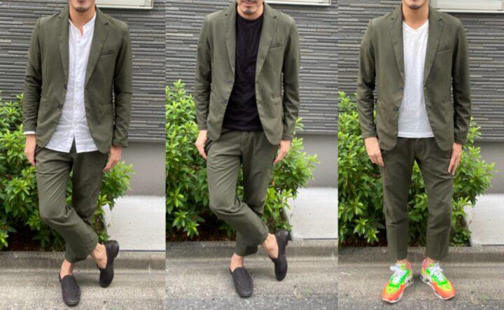 周りと差を付けてモテるメンズファッションはグリーンのセットアップの画像