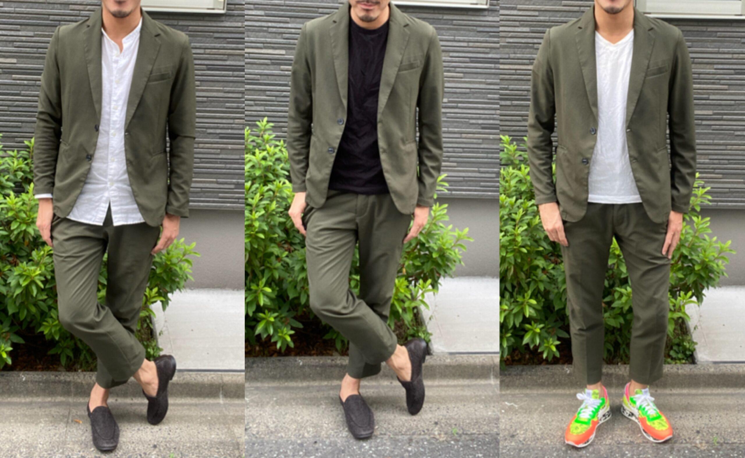 周りと差を付けてモテるメンズファッションはグリーンのセットアップ